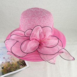 EPU-MH1811 2018 New Organza Floral Trim Fancy Summer Hat Elegant and Vogue for Ladies