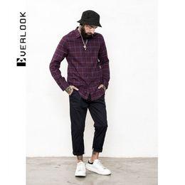 EL Men's Wear | New Pattern Thin Section Lattice Man Shirt Long Sleeve Korean Self-cultivation Will Code Avoid Burn Pure Cotton Shirt