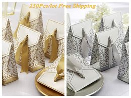 250Pcs lot Wedding candy boxes Gold Ribbon Paper boxes best for Bridal favor boxes and Party Gift box