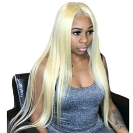100% Human Hair Brazilian Hair Full Lace Wigs for Black Women #613 Blond Hair Transparent Lace Color Medium Cap Wholesale