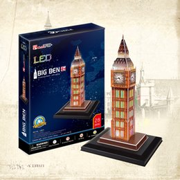 Cubicfun 3D Puzzle Big Ben 28Pcs with LED Light Foam Paper Jigsaw Educational Toy Assembly DIY Building Model Gifts
