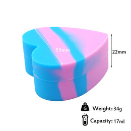 Heart shape high quality Silicone NonStick Jar storage Container for Oil Dab Wax BHO Crumble Goo Honey Stainless Steel Wax Oil