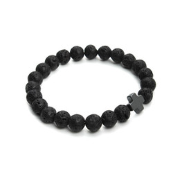 2018 New 8mm Natural Lava Stone Beaded Bracelet Men Hematite Gallstone Cross Bracelets Pulseras Hombre Yoga Jewelry
