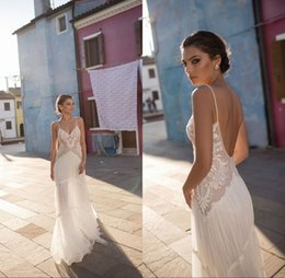 Wedding Dresses Lace V Neck Bohemian Spaghetti Straps A Line Backless Sexy Summer Beach Bridal Gowns