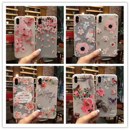Fashion Imported Pink Peach Flower Pattern Embossed Sakura Printed Cell Phone Case Shockproof TPU Cell Phone Case for IphoneX Iphone8