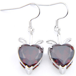 5 Pairs 1 lot Luckyshine Holiday Gift Bright Heart Fire Red Garnet Zircon 925 Sterling Silver For Women Charm Wedding Drop Earrings