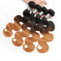 Brazilian Body Wave Human Hair Weaves 1b 4 27 3 Tone Ombre Color Remy Hair Extensions No Shedding No Tangle Can Be Dyed