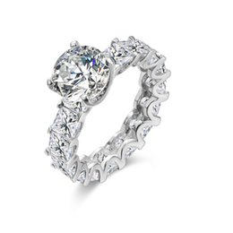 Designer Fashion 925 Sterling Silver Jewelry Platinum Plated 3A Cubic Zirconia Party Ring