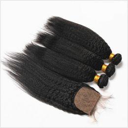 Brazilian Kinky Straight 4*4 Silk Base Closure With Hair Bundles Coarse Yaki Virgin Human Hair 3Pcs With Silk Top Lace Closure 4Pcs Lot