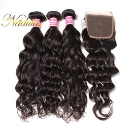Nadula Hair Brazilian Virgin Natural Wave Bundles With Lace Closure Weave Hair Bundles with Closure Remy Human Hair Weaves Closure Wholesale