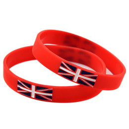 Wholesale 100PCS Lot Silicone Wristbands With British Flag Logo Perfect To Use In Any Benefits Gift