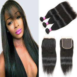 Brazilian Virgin Straight Hair With Closure 7A Remy Human Hair 3 Bundles With Closure Straight Weave With 4x4 Lace Closure Free Middle Part