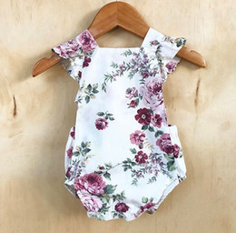 Baby Girls Flower Cross Back Rompers 2017 Summer Infant Boutique Clothing INS Baby Toddlers Girls Ruffle Cap Sleeves Floral Rompers