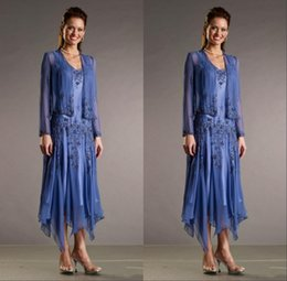 Plus Size Mother Of The Bride Dresses Beaded Sleeves Wrap Jacket Tea Length Mother Bride Gowns Cheap Wedding Guest Dress