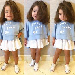Wholesale Children Set Kids Suit Outfits Girl Dress Summer print White T Shirts Baby Skirt Kid Dress Suits Child Clothes Kids Clothing
