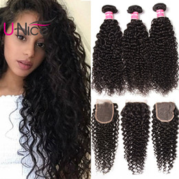 UNice Hair Virgin Peruvian Kinky Curly Hair 4 Bundles With Closure Virgin Brazilian Curly Hair Weave Bundles With Lace Closure Wholesale