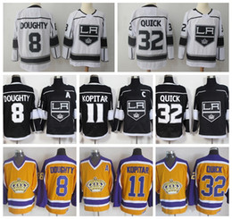 Ice Hockey LA Los Angeles Kings 32 Jonathan Quick Jerseys 11 Anze Kopitar Jersey 8 Drew Doughty Black White Vintage Yellow Man