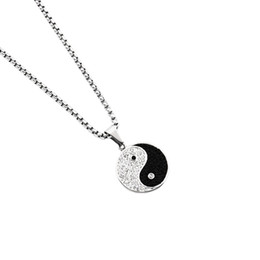 Men Charm Round Pendant Necklaces Crystal Design Stainless Steel High Quality Best Friend Jewelry 70cm Long Chain For Jewellery