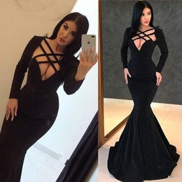 Glamorous Black Long Sleeves Evening Gowns 2019 Cutaways Sides Mermaid Custom Made Long Prom Gowns BC0315