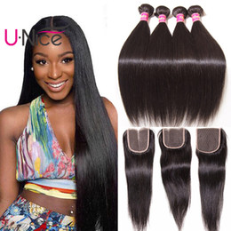 UNice Hair 4 Bundles With Closure Brazilian Virgin Straight Human Hair Extensions Brazilian Hair Weave Bundles With Lace Closure Wholesale