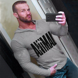 Muscle long-sleeved T-shirt male brother tights hooded hoodie fitness sweater sports running clothes training suit