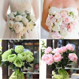 Elegant 5 Head Artificial Peony Fake Silk Flower Bunch Bouquet Home Hotel Wedding Party Floral Decor Peony
