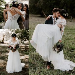 Customized 2019 Lace Boho Wedding Dresses Sheer Long Sleeves A line Beach Bridal Gowns 2018 V Shape Button Back Wedding Gowns For Brides