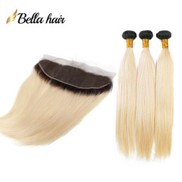 "Blonde Ombre Hair Bundles With Lace Frontal (13x4"") Brazilian Virgin Hair Silky Straight Double Weft Hair Extensions Wefts 1b #613 Bellahair"