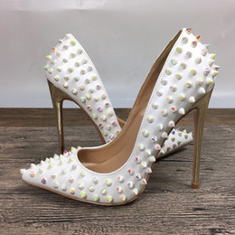 White magic color rivets high heels patent PU acupuncture rivets shallow mouth high heels pump wave 10cm 12cm shoes