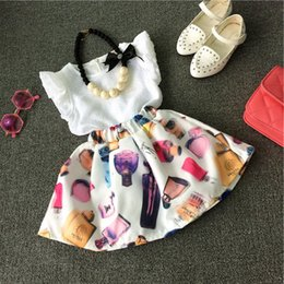 Children baby girls dress suits white t-shirt +skirt female perfume make-up decoration fashion princes dress kids girls outfits clothes