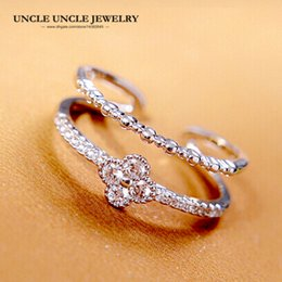 Brand Design White Gold Color Fashion Four Leaf Clover Style Zirconia Micro Setting Double Rows Lady Finger Ring Christmas Gift