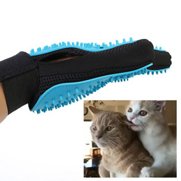New Double Sides Pet Dog Cat Gentle Deshedding Brush Massage Grooming Glove Hair Fur Removal Tool