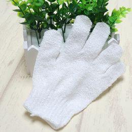 white nylon body cleaning shower gloves Exfoliating Bath Glove Five fingers Bath Gloves