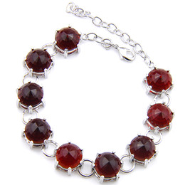 2PCS 1 Lot Thanksgiving Gift Holiday Gift Round Shaped Fire Red Quartz Gems Charm Women Silver Chain Bracelet Bangle