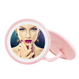 LED Lighted Make-up Mirror, Vanity Mirror with Finger Ring Stand, Cordless & Portable Travel Cosmetic Pocket Mirror