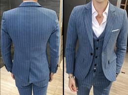 2018 Latest Coat Pant Designs Mens Blue Suits Slim Fit Social Skinny Red Mens Dress Suits Set 3 pcs Striped Khaki Tuxedo 5XL New