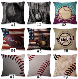 9 Designs 45*45cm Baseball Football Pillow Case Cotton Linen Square Cushion Sofa Car Livingroom Bedroom Pillow Covers CNY198
