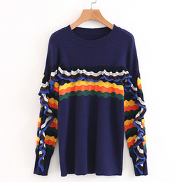 Knitted blouse new European and American style lace color wavy side fashion high quality hooded ladies sweater