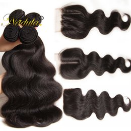 Nadula Peruvian Hair Bundles With Lace Closure Brazilian Virgin Hair Extension Unprocessed Body Wave Lace Closure Remy Human Hair
