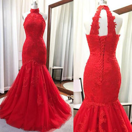 Real Image Red Trumpet Mermaid Wedding Dress High Neck Halter Sleeveless Lace Appliques Keyhole Back Lace-up Bridal Gowns
