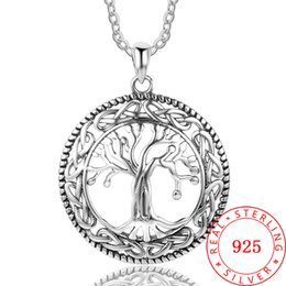 high quality marcasite silver necklace Guangzhou China wholesale life of tree silver jewelry 925 genuine Silver Chain Necklace For Women
