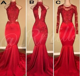 2018 New Plus Size Prom Dresses Vintage Long Sleeves Sweep Train Red Mermaid Applique Sequins African Black Girls Evening Gowns Carpet Dress