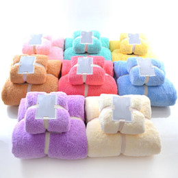 Bathroom towel set 2pcs bath towel face towel coral fleece microfiber soft strong water absorption good quality