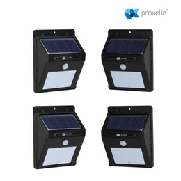4 Pieces Solar Powered Lights Solar Powered Lights - 8 Wireless LED w  Motion Sensor Auto On Off - Waterproof, Weatherproof for Patio, Deck,