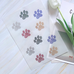 Filled Paw Print Rhinestone Iron On Transfers Hot Fix Motif Designs For Garment Accessories