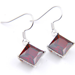 5 Pairs Lot Luckyshine Holiday Gift 5pairs Square Shaped Garnet Gems 925 Sterling Silver Plated Drop Earrings Russia USA Australia Earrings