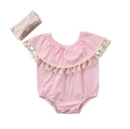 2018 Ins New Girl Lace Rompers Infant Toddlers Tassel Jumpsuit Onesies Newborn Pink Soft Cotton Summer Bodysuit with headband