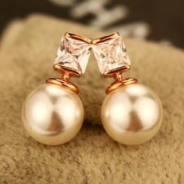 Double Pearl & Zircon Earrings Korean Women Double Sided Earrings Jewelry Accessories Stud Earrings High Quality
