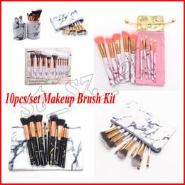 10pcs set Marble Makeup Brushes with bag Blush Powder Eyebrow Eyeliner Highlight Concealer Contour Foundation Make Up Brush Set with holder