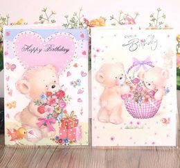 [music card] HK-855 Bear birthday music card, hot silver stereoscopic three fold card, birthday greeting